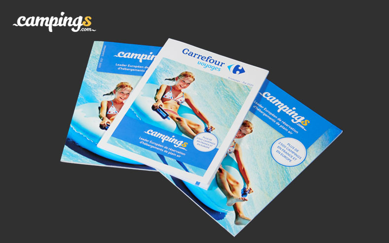 Impression de catalogues et de vitrophanies pour Campings.com