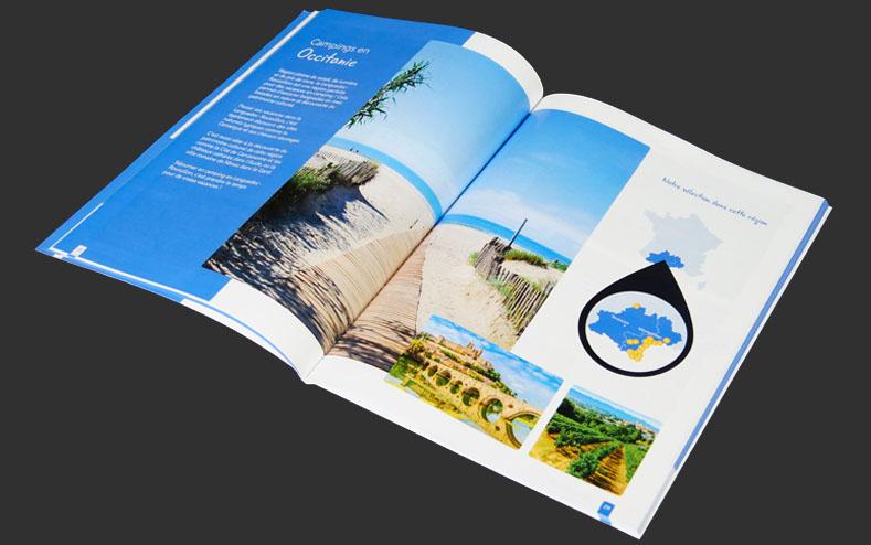Zoom sur un catalogue imprimé pour campings.com