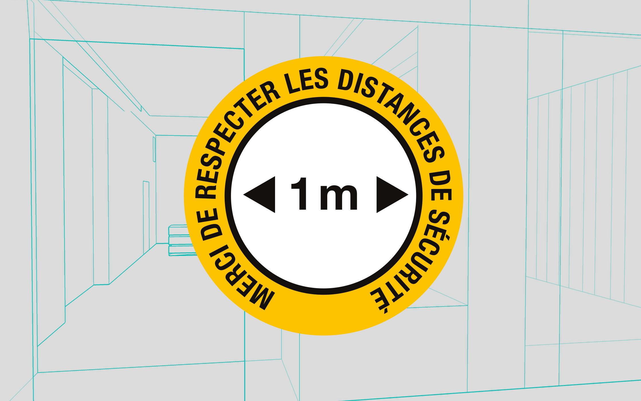 Vitrophanie sticker rond : distance sécurité