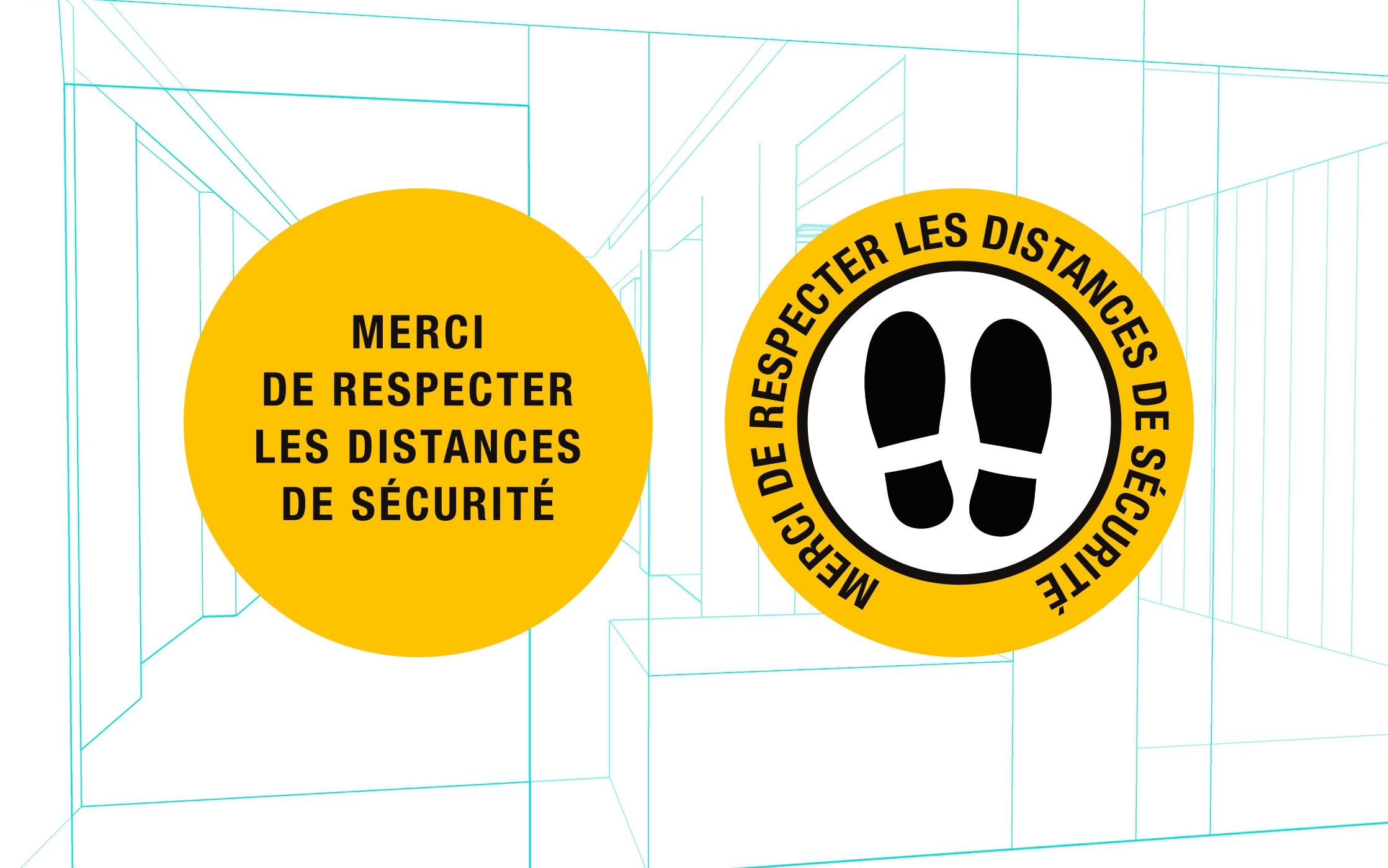 Marquage adhésif sol rond : distance sécurité
